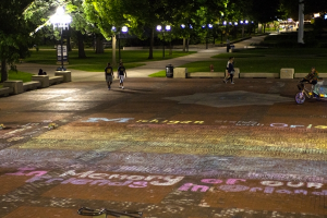 Students chalked the Diag on Sunday to remember the victims of the Orlando shooting. Photo by Sinduja Kilaru/Michigan Daily.