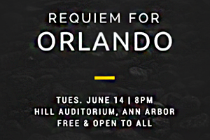 """""""Requiem for Orlando,"""" a community performance of Mozart's Requiem, honors the victims of the shooting at the Pulse nightclub in Orlando, FL. Graphic by event organizers."""