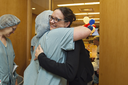 Dr. Dawn Coleman is welcomed back to UMHS after a 90-day tour in Iraq.