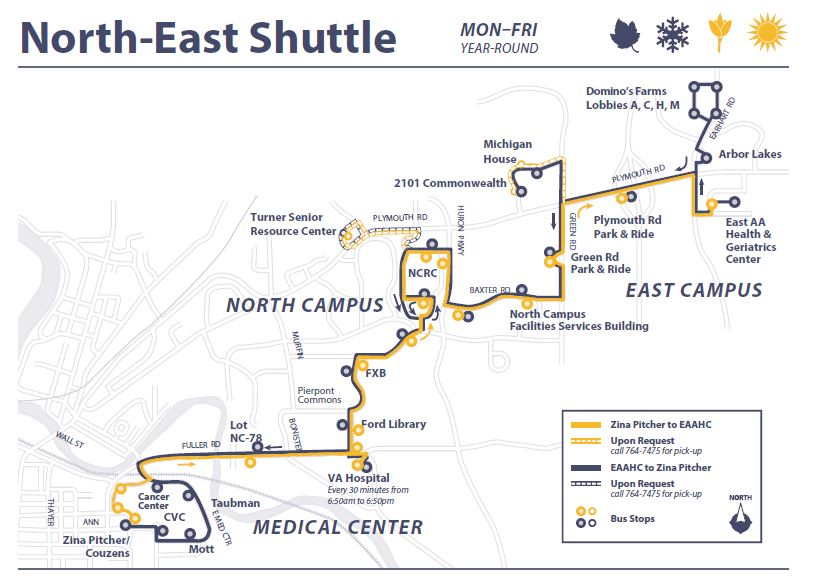 The North East Shuttle Will Continue To Operate Weekdays And Connect The Medical Campus To The Va Hospital North Campus Research Complex And East Campus