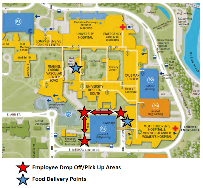 Map of main medical campus with designated areas for pick-up and drop-off