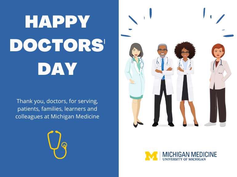 Happy Doctors Day. A collection of four doctors who represent the diversity of Michigan Medicine.