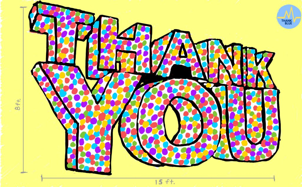"""""""Thank you"""" spelled out in large letters filled with colored circles."""