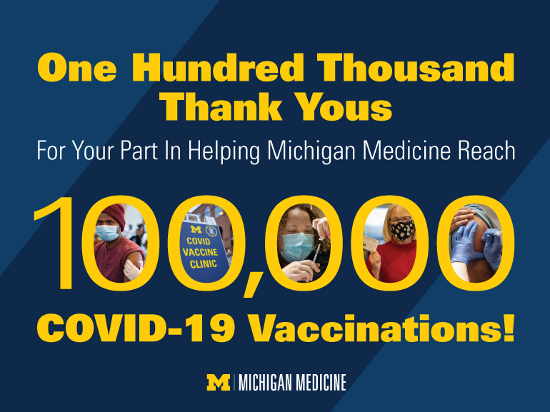 One hundred thousand thank yous for your part in helping Michigan Medicine reach 100,000 COVID-19 vaccinations!