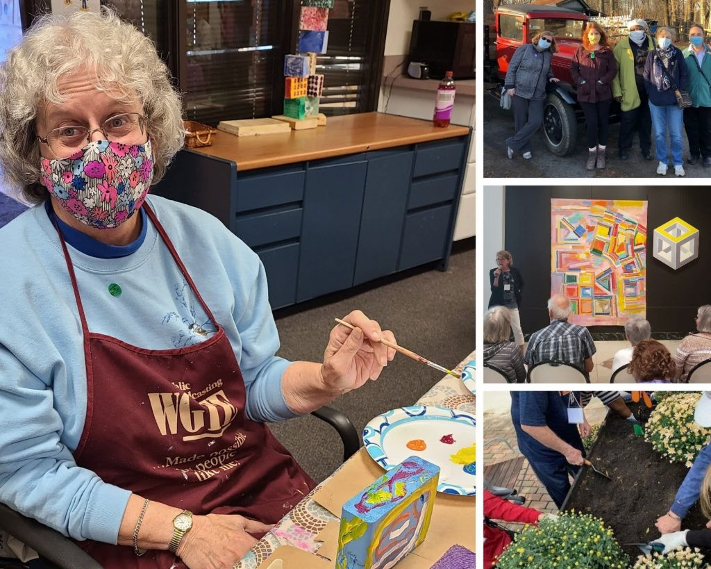 Older adults participating in activities such as painting and gardening.