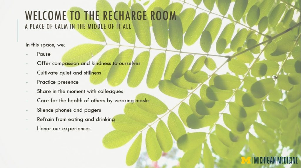 Welcome to the Recharge Room, a place of calm in the middle of it all. In this space, we: Pause, offer compassion and kindness to ourselves, cultivate quiet and stillness, practice presence, share in the moment with colleagues, care for the health of others by wearing masks, silence phones and pagers, refrain from eating and drinking, honor our experiences
