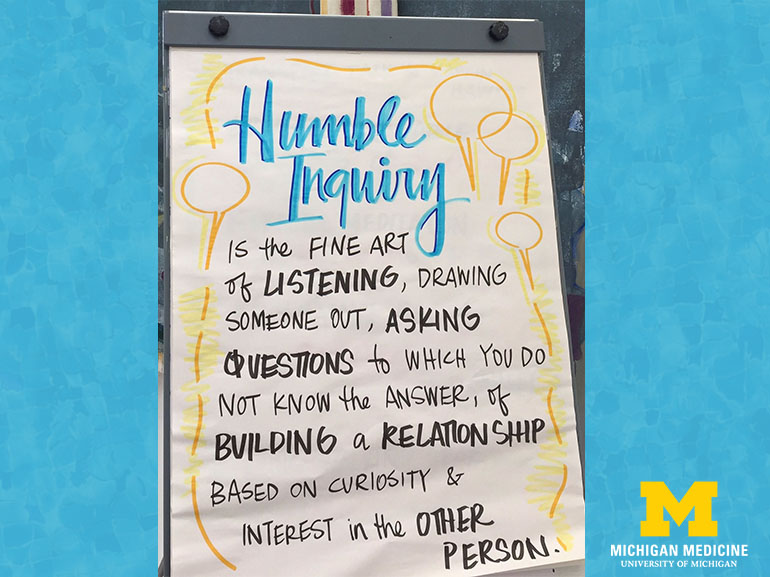 Humble Inquiry is the fine art of listening, drawing someone out, asking questions to which you do not know the answer, of building a relationship based on curiosity and interest in the other person.