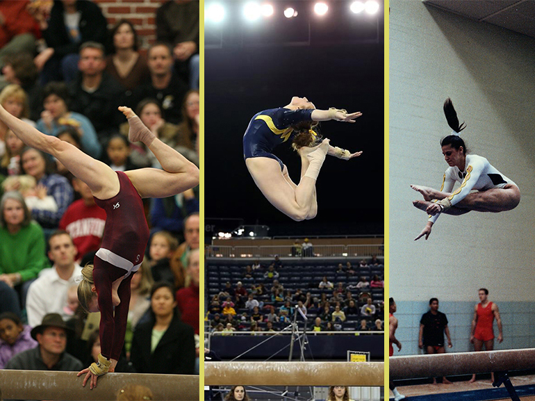 Three photos of gymnasts on the balance beam. One doing a flip and two doing a jump.