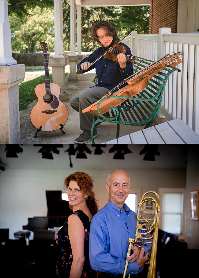 Top: Musician playing stringed instruments. Bottom: A man and woman stand back-to-back. Man is holding a trombone.