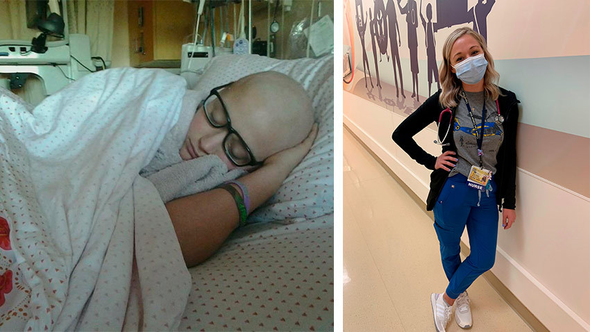 Left: A girl with a bald head las in a hospital bed. Right: A nurse with blond hair stands in a hospital hallway wearing a mask.