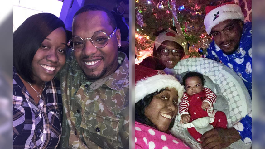 Left: A woman and man pose for a photo. Right: A family of four pose in holiday outfits.