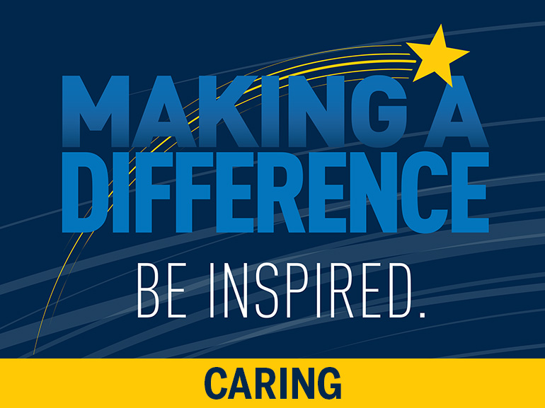 """""""Making a Difference: Be inspired."""" Written on a blue background."""