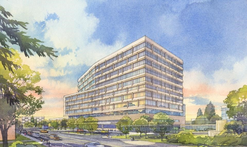 Rendering of a 12-story building with blue sky in the background.