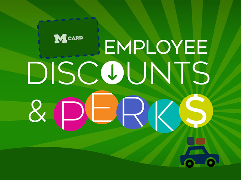 Employee discounts and perks on a green background.