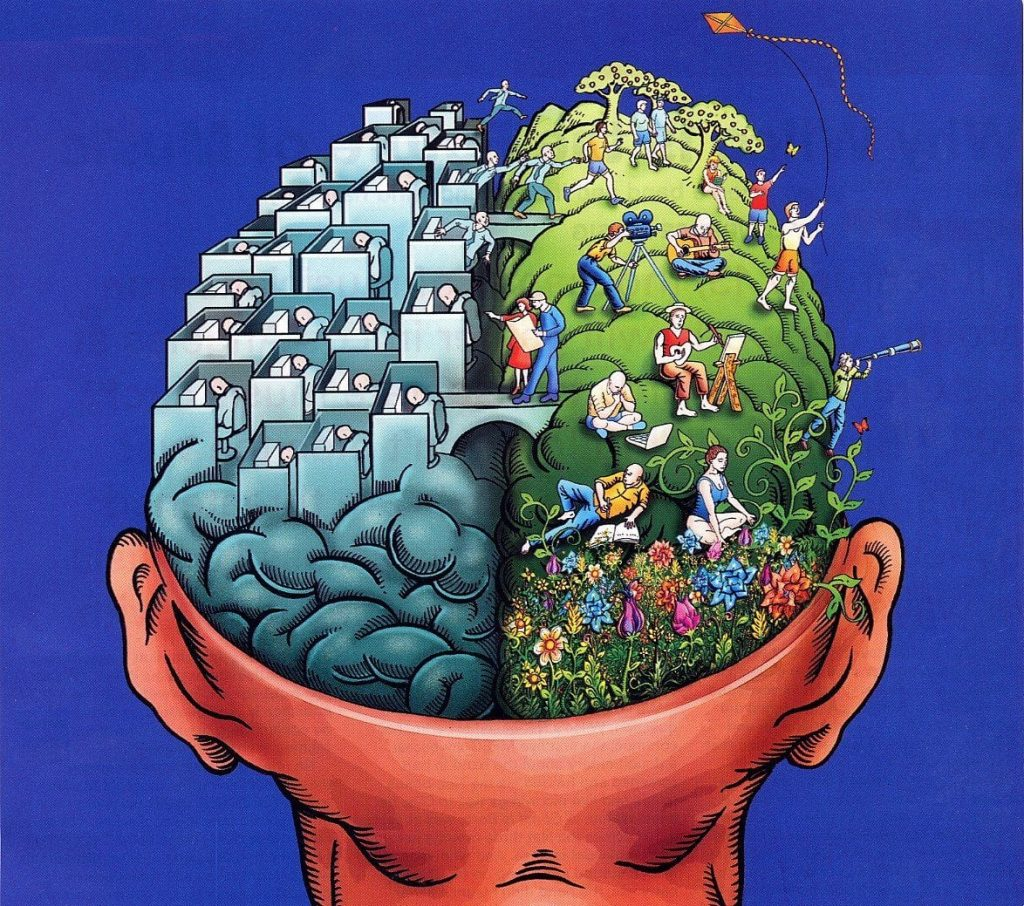 Illustration of a brain, with one side showing people working in an office and the other showing people outdoors enjoying the summer.