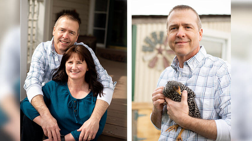 In one photo, a man and his wife sit outside holding hands. In other photo, a man wearing a plaid shirt holds a chicken.