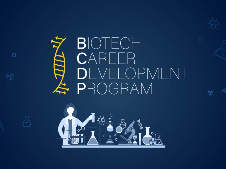 Biotech Career Development Program with icons representing science.