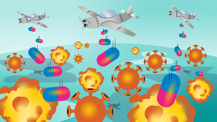 Airplanes dropping pills on COVID-19 cells.