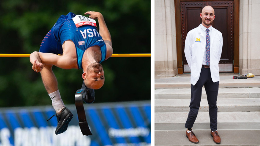Athlete with prosthetic leg jumps over high bar. On right, same athlete shown wearing a white coat.