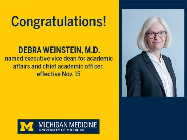Debra F. Weinstein, M.D., appointed executive vice dean for academic affairs, chief academic officer